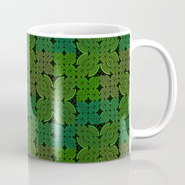 Vintage 70's Moss Green Geometric Tapestry Print Coffee Mug