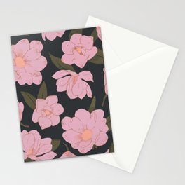 Cold pink magnolias pattern on dark Stationery Cards