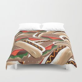 Hot Dogs And Hamburgers Duvet Cover