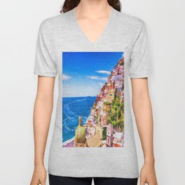 Colorful Positano Italy Unisex V-Neck
