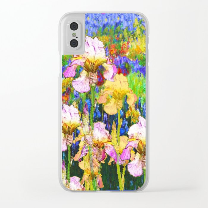 BLUE YELLOW IRIS GARDEN REFLECTION Clear iPhone Case