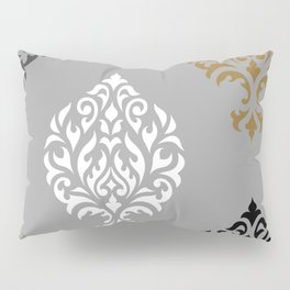 Orna Damask Art I BW Grays Gold Pillow Sham