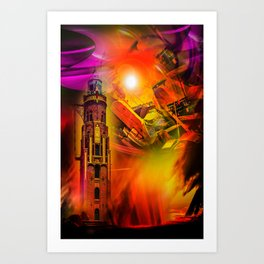 Lighthouse romance Art Print