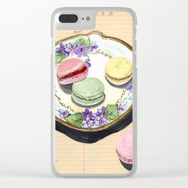 Macarons on an Antique Plate in Gouache Clear iPhone Case