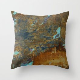 Blue Lagoons in Rusty World Throw Pillow