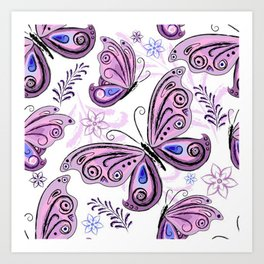 Colorful Butterflies and Flowers V12 Art Print