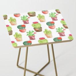 Watercolor prickly cacti in pots Side Table