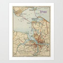 Vintage Map of Norfolk and Portsmouth VA (1919) Art Print