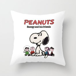 Snoopy And Friends Throw Pillow