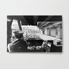 Japanese train driver   Shinkansen view from the operator's cabin   Tokyo to Kyoto   Travel Photography Metal Print