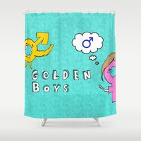 boys Shower Curtains featuring Golden Boys by iRa.