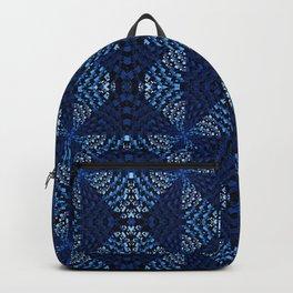 Indigo Blues Geometric Magic Quilt Print Backpack