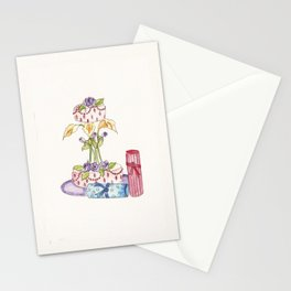Cake & Flowers Water Color Print Stationery Cards