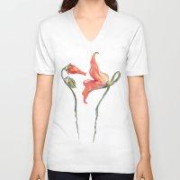 floyd V-neck T-shirts featuring Pink Floyd 's Flower  by Blaz Rojs