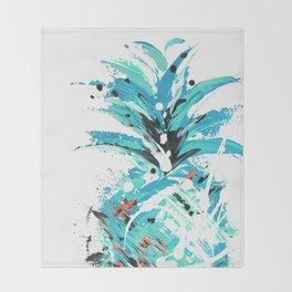 Teal Twist pineapple Throw Blanket