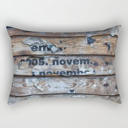 Distressed Poster Fragments On Old Planks Rectangular Pillow
