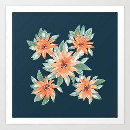 Oranges Branches blooms on Teal Green_Hand Painted watercolour  Art Print