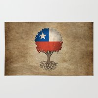 chile Area & Throw Rugs featuring Vintage Tree of Life with Flag of Chile by Jeff Bartels
