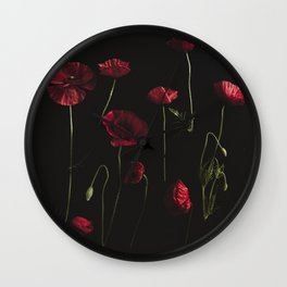 Moody Poppies Wall Clock