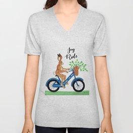 Hansel the Hare Biking Unisex V-Neck