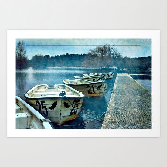 Boats in blue Art Print