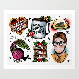 The Office Tattoo Flash Art Print
