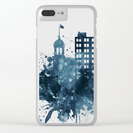 Blue Chattanooga skyline design Clear iPhone Case