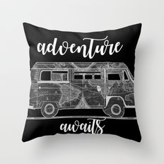 adventure awaits world map design 5 Throw Pillow