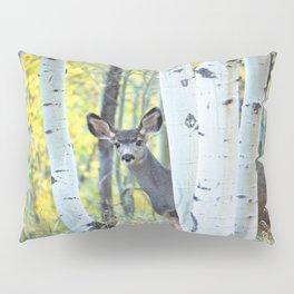 Hide and Seek - Young Mule Deer Among Aspen Trees in Western Colorado Pillow Sham