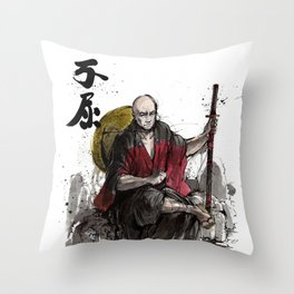 Samurai Captain Picard Parody/Crossover with Japanese Calligraphy Throw Pillow
