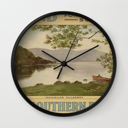 Ireland for scenery Vintage Travel Poster Wall Clock
