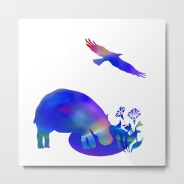 Hippo at the pond Metal Print