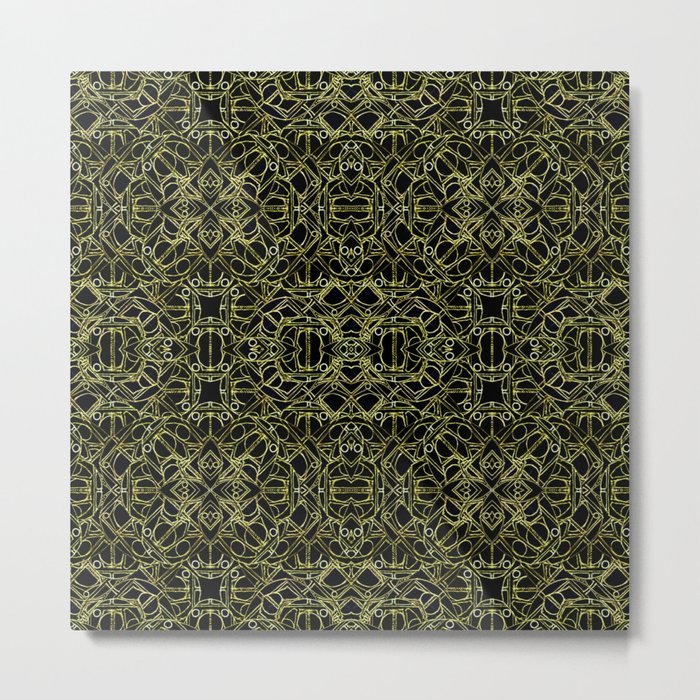 Golden Geo Tribal Pattern Metal Print