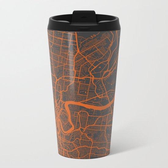 Brisbane Map Metal Travel Mug