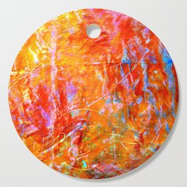 Abstract with Circle in Gold, Red, and Blue Cutting Board