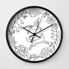 Fox and Loon Playing in Floral Wreath Design — Floral Wreath with Animals Illustration Wall Clock
