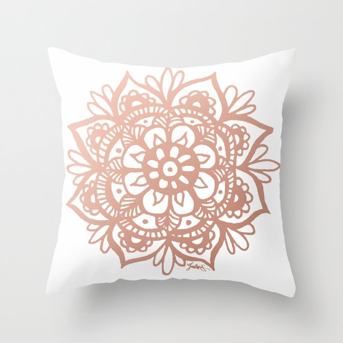 Rose Gold Mandala Throw Pillow