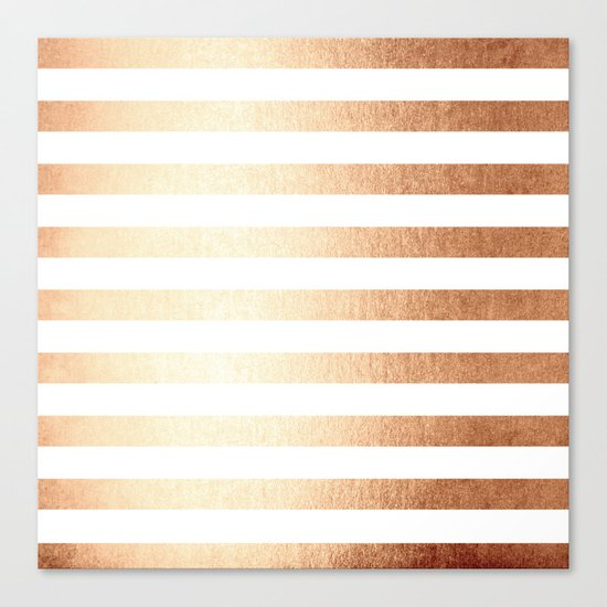 Simply Striped Deep Bronze Amber Canvas Print