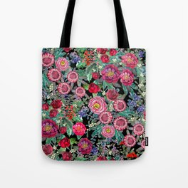 fall burgundy flowers and berries, autumn / winter, holiday botanical Tote Bag