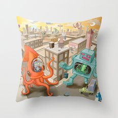 Squid vs Robot Throw Pillow