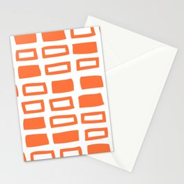 Mid Century Modern Abstract Squares Pattern 442 Orange Stationery Cards
