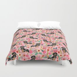 Dapple Dachshund doxie lover floral must have gifts dachsie flowers Duvet Cover