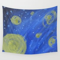 fireflies Wall Tapestries featuring Fireflies by Angelina Yvette