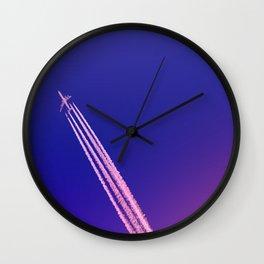 Deep Blue Sky and Plane Wall Clock