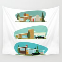 hollywood Wall Tapestries featuring Hollywood Bungalows by Hand Drawn Creative