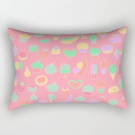 Sweet temptations, pink pastries, fruits and love Rectangular Pillow