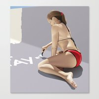 pool Canvas Prints featuring Pool by David Luscombe