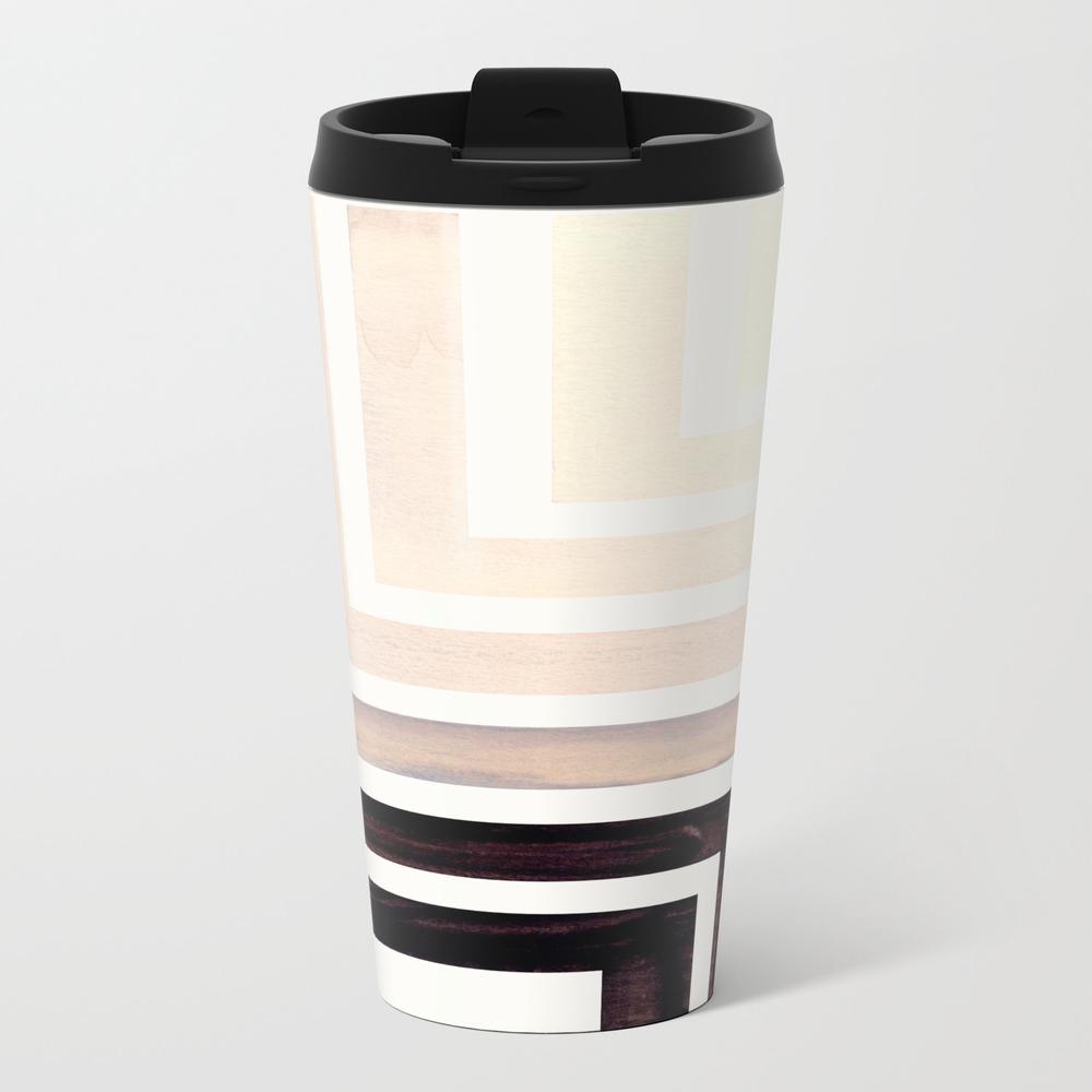 Grey Mid Century Modern Watercolor Colorful Ancien… Metal Travel Mug by Enshape MTM7881459