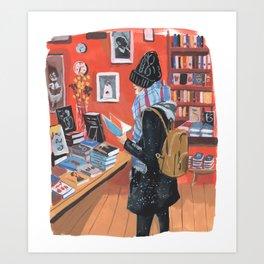 Winter Book Hunt  Art Print