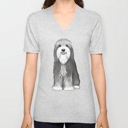 Cute Bearded Collie Cartoon Dog Unisex V-Neck